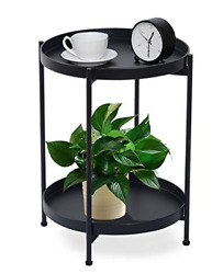 Funme Black Folding End Table 2-tier Metal Round Side Table With Removable Tray