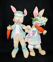 True Vintage Annalee 1975-1981 Easter Bunny Bunnies Rabbits 22+ Inches Standing