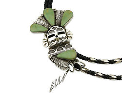 Navajo Bolo Tie .925 Silver Colorado Turquoise Signed Running Bear C.80's