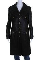 Womens Leather Long Sleeve Button Down Jacket Black Size 42 European 08p
