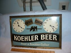 Koehler Beer Erie Pa. Tin Over Cardboard Open/closed Sign Made In Reading Pa