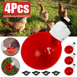 4PCS Automatic Chicken Water Cups Poultry Drinker Waterer Duck Pigeon Drinking