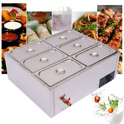 7l Electric Buffet Server Six Sectional Food Warmer Tray Countertop Steamer Us
