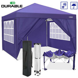 Heavy Duty 10'x10' Pop Up Canopy Canopy Tent Fully Waterproof With 4 Sidewalls