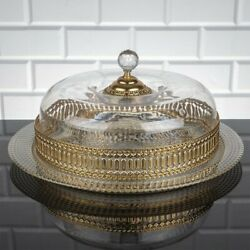Cake Plate Dessert Dome With Stand Cover Wedding Party Vintage Gold Pearl Glass