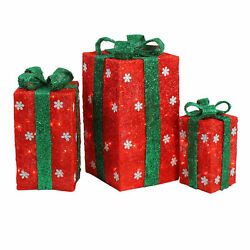 Northlight 3 Lighted Tall Red Sisal Gift Boxes Christmas Yard Art Decorations