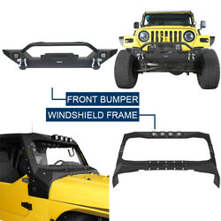 Durable Front Windshield Frame Cover Armor + Bumper For Jeep Wrangler Tj 97-06