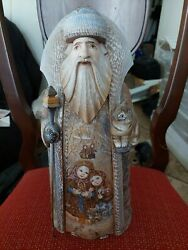 Wow Magnificent Handpainted Russian Grandfather Frost Children W/ Wand