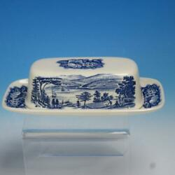Staffordshire Liberty Blue Lafayette Covered Butter Dish