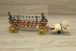 Antique Cast Iron Horse Drawn Fire Truck Engine Wagon Toy W/ Ladders Firemen T2