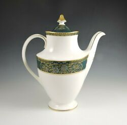 Royal Doulton Carlyle China Coffee Pot With Lid - Blue/green/gold Mint