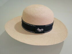 Hermes Straw Hat Wide Brim Hat Menand039s L Black Ribbon With Unused Tag Rare 7103kn