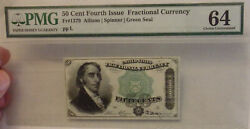 50 Cents Fourth Issue Fractional Currency Fr1379 Pmg 64 Green Seal... Lot 8182