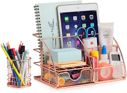 Delam Rose Gold Desk Organizers And Accessories Set Cute Home Office Decor Supp