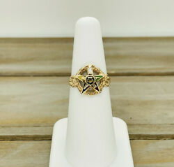 Vintage 14kt Solid Yellow Gold Rope Design Band Eastern Star Ring Size 5.75