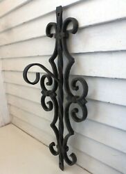 Antique 1800and039s Heavy Wrought Iron Ornate Lantern Hook Victorian Gothic Estate