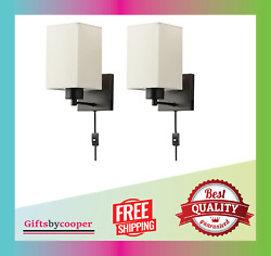 Plug In Wall Sconce Set 2 Rustic Wall Lamp With Plug-in Cord On/off Toggle New