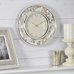 FirsTime amp; Co. Pearl Mosaic Wall Clock 10.25quot; Beach Stone