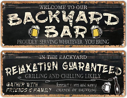Flinelife Welcome To Our Backyard Bar Sign, Large Size 16 X 6, Metal Sign Tin Si