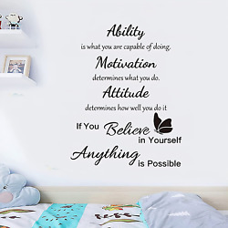 2 Sheets Vinyl Wall Quote Stickers Gym Inspirational Wall Decals Motivational De