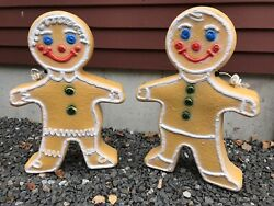 Blow Mold Gingerbread Figure Girl Boy White Icing Union Pair 2