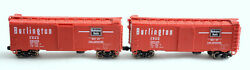 N Scale-intermountain Cbq Burlington Way Of The Zephyrs 40' Boxcar Lot Of 2 Red