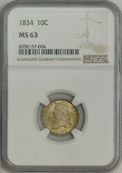 1834 Capped Bust Dime 10c Large 4 Ms63 Ngc 943761-9