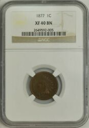 1877 Indian Head Cent 1c Xf40 Bn Ngc 944359-1