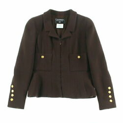Pole Coco Button Tweed Jacket Skirt Suit 96a Brown P4179 No.9524