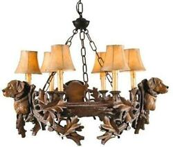 Chandelier 3 Labrador Lab Head Dog 3-light Yellow Cast Resin Faux Leather