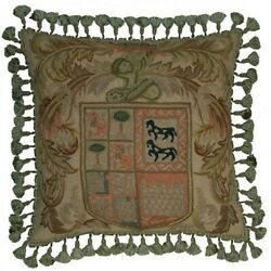Throw Pillow Traditional Antique Crest With Horses 21x21 Bronze Green Gold