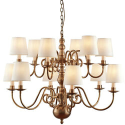 Luxury Hanging Ceiling Pendant Light –solid Brass Marble Silk–12 Lamp Chandelier