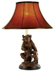 Sculpture Table Lamp Come Here Bears Hand Painted Ok Casting Mountain 1-