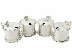 Antique Set Of Four Sterling Silver Mustard Pots