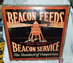 Antique Lighthouse Beacon Milling Feeds Usa Art Advertising Metal Sign Graphic