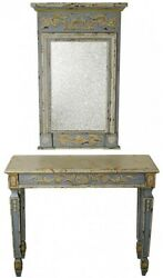 Console Table Antiqued French Blue Glass Wood Mirror Faux Marble Top Hir