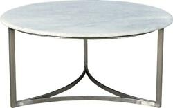 Stanford Coffee Table Cocktail Industrial Antique Nickel Iron Base Marble To