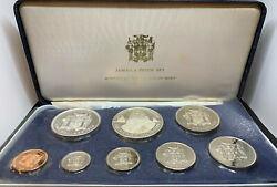 Jamaica 1974 8 Coin Proof Set Original Packaging 2 Silver Coins 1.8772 Asw