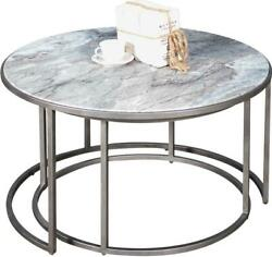 Sarreid Nesting Tables Nested Contemporary Round Antique Silver Taupe Beige