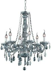 Verona Chandelier Traditional Antique 6-light Silver Shade Etched Glass St