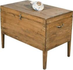 Sarreid Trunk Side Table End Traditional Antique Brown Pine