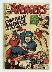 Avengers 4 Pr 0.5 Trimmed 1964 1st Silver Age App. Captain America And Bucky