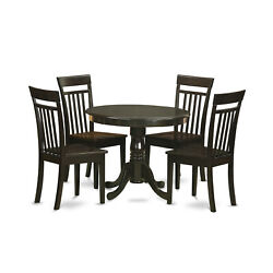 East West Furniture Antique Wood 5-piece Dining Set In Cappuccino Anca5-cap-w