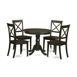 East West Furniture Antique Wood 5-piece Dining Set In Cappuccino Anbo5-cap-w