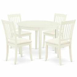 East West Furniture Boston Wood 5-piece Dining Set With White Boda5-whi-c