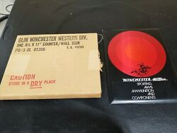 Winchester Western Tin Over Cardboard New Old Stock Sign Inv54