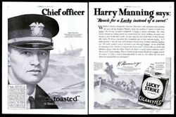 1929 Ss America Ship Chief Officer Harry Manning Art Lucky Strike Cigarettes Ad