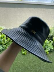 Christian Dior Beautiful Bob Bucket Hat 57 Lamb Leather With Tulle Used 065/mn