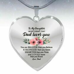 To My Daughter Necklace Love Dad Father Daughter Heart Flower Silver Free Ship