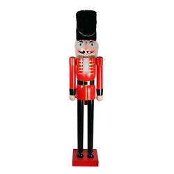 6and039 Giant Commercial Size Wooden Red And Black Christmas Nutcracker Soldier